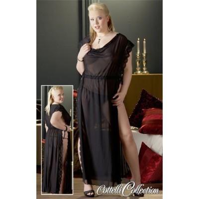 Dolga črna prosojna obleka