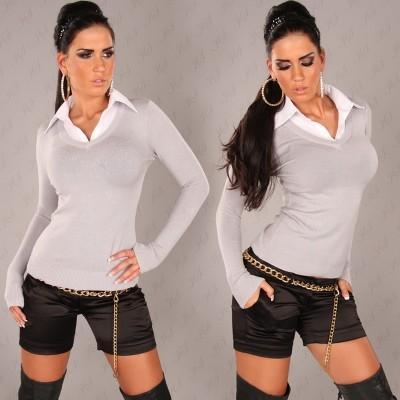 Siv pulover s srajčko Altea