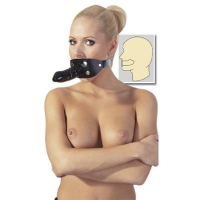 Usnjen strap-on z dildom in čepom za usta Zado